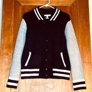 Honey Punch letterman style jacket sweater